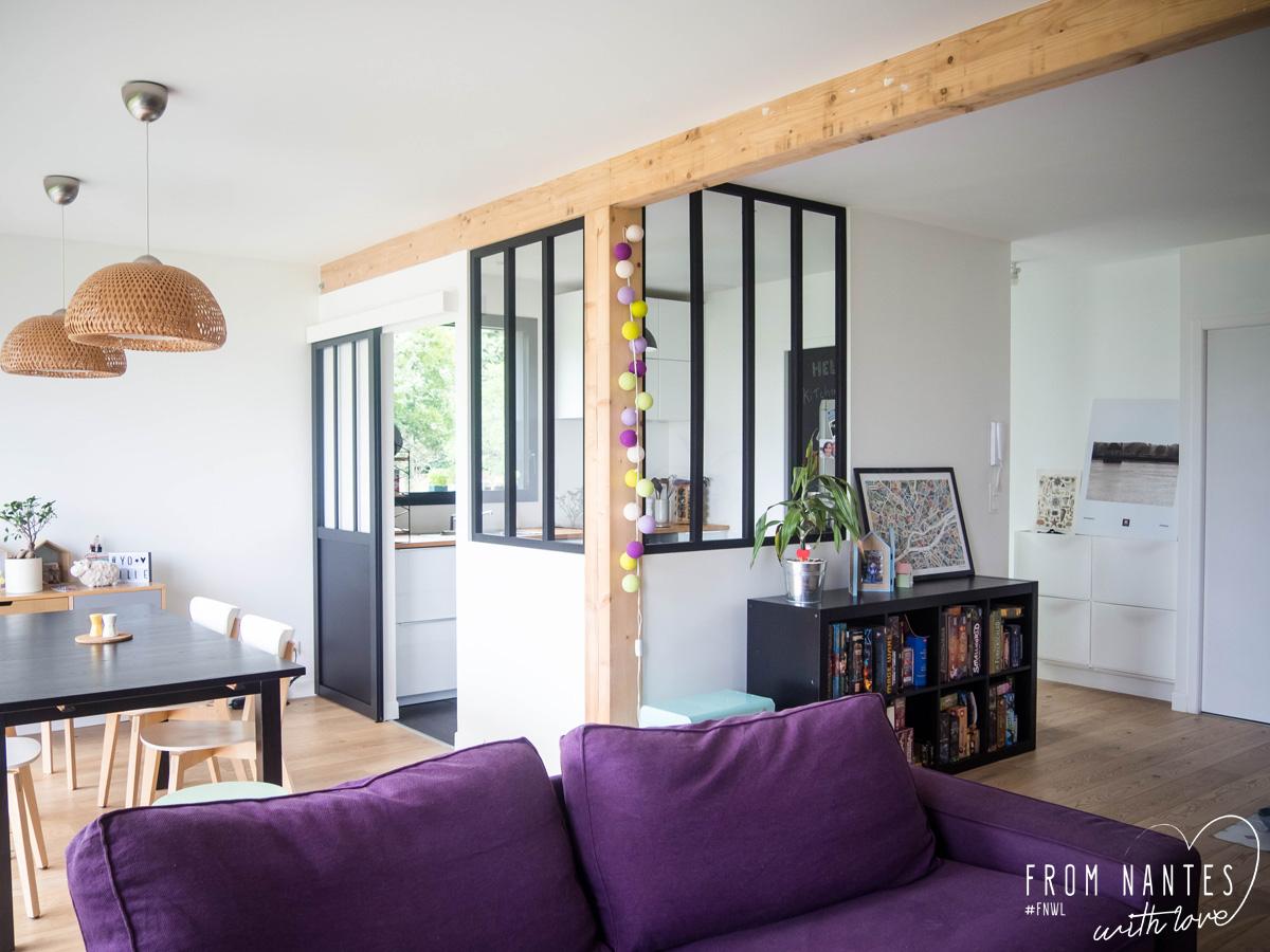 diy - une verrière style atelier pas chère pour séparer cuisine et salon