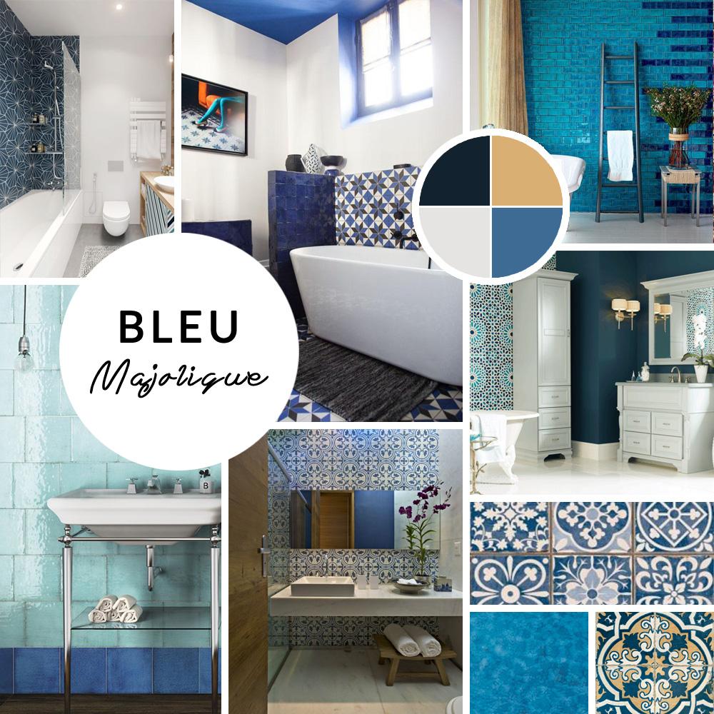 D coration deux inspirations pour ma salle de bain for Carrelage faience bleu